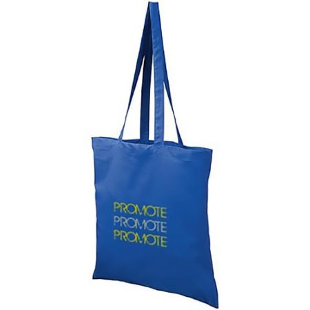 coloured cotton tote bags blue withlogo new 450x450 - Coloured Cotton Shopper