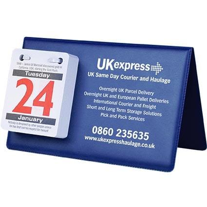COLOURPICKER PVC Easel Calendars blue1 - Vinyl Desk Calendar Easel