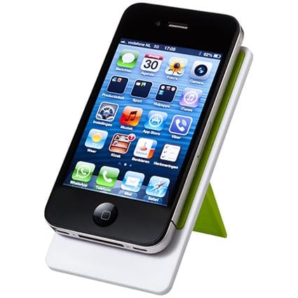 Economy Folding Phone Stands green withphone - Eco Folding Phone Stand