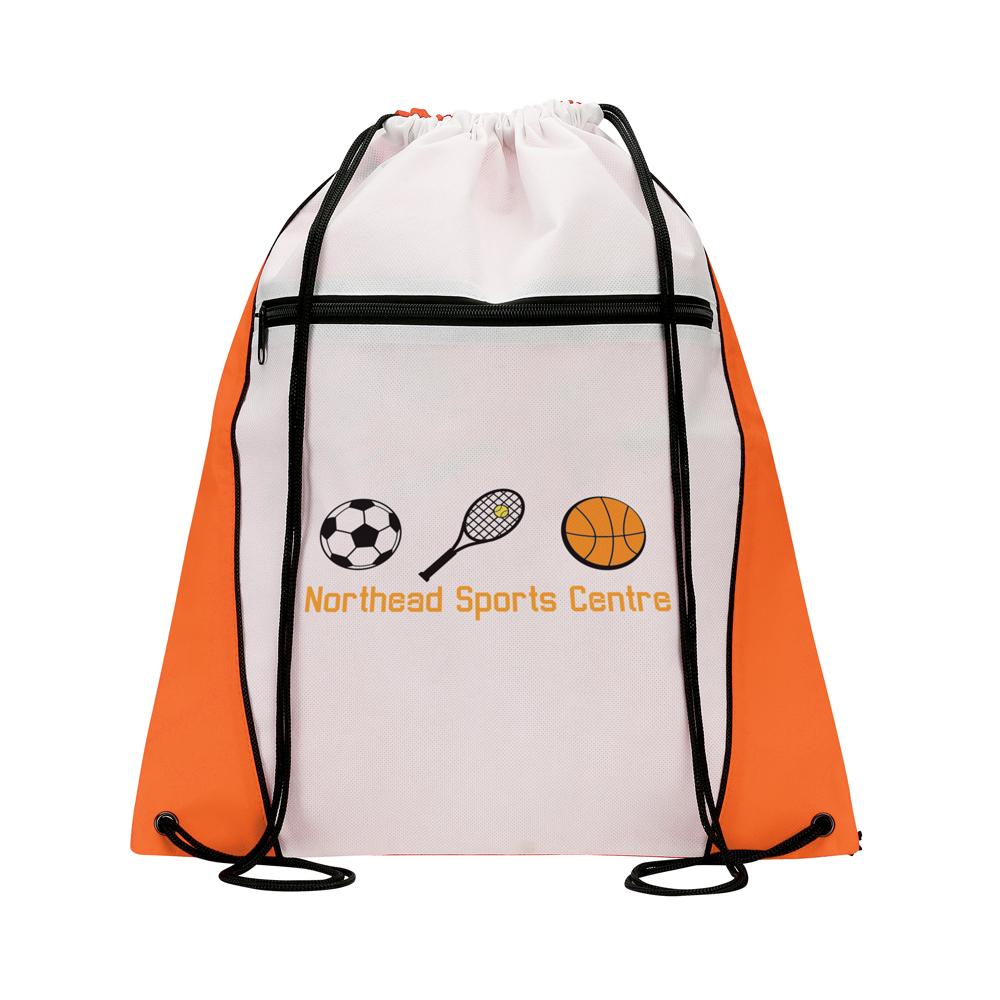 BA1807 orange - Contrast Drawstring Bag