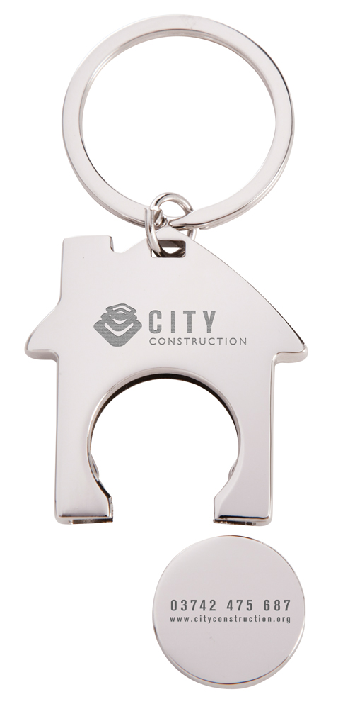 KY4542 open - House Trolley Coin Keyring