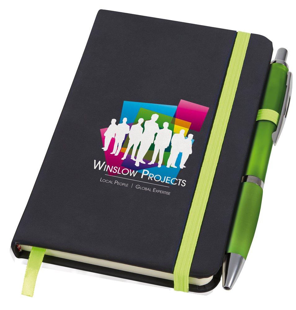 PA1408 lime - Small Noir Notebook